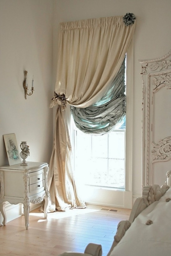 bedroom-shabby-chic-curtains-beige-olive-green-white-furniture