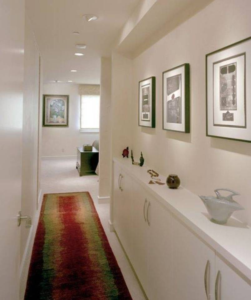 Narrow Entryway Design : Narrow hallway decorating ideas with framed wall arts and
