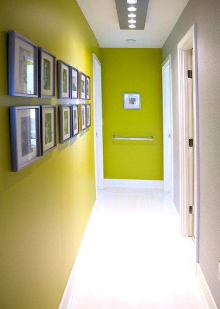 narrow-hallway-decorating-ideas-with-green-walls-and-framed-wall-arts