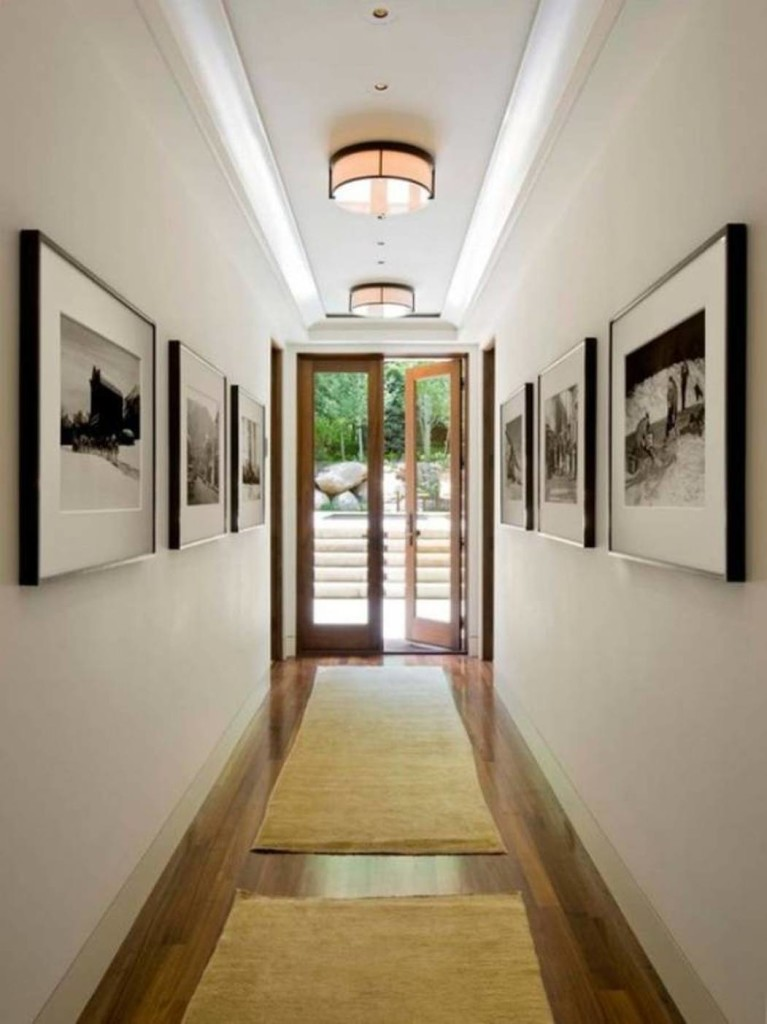 narrow-hallway-decorating-ideas-with-runners-and-wall-pictures-and-lighting
