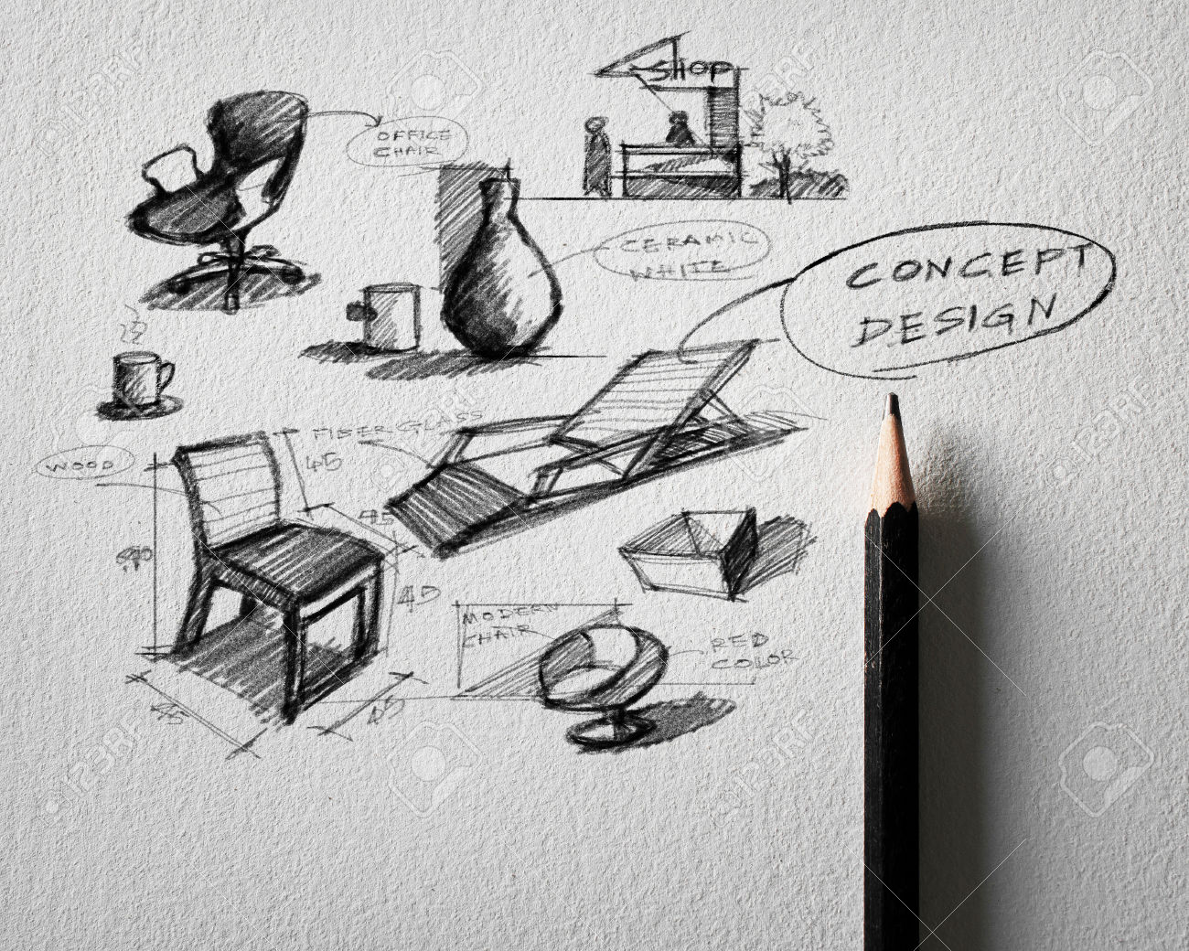 23468652 pencil sketch of furniture concept design on for Conceptual designs