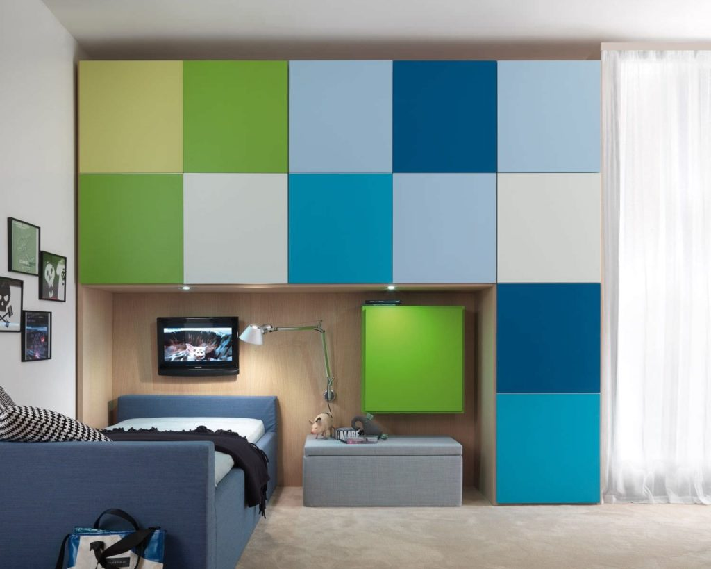 minimalist-kids-teenage-room-with-colorful-closet-finish-and-blue-bed-and-wall-mounted-flatscreen-tv